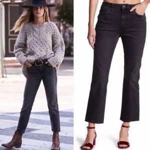 Free People / Black Distressed Boyfriend Jeans